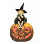 Witchy Woman Vintage Halloween Postcard
