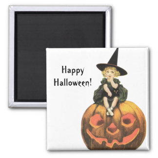Witchy Woman Vintage Halloween Square Magnet