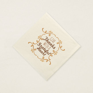 With A Grateful Heart Thanksgiving   Napkin Disposable Napkin