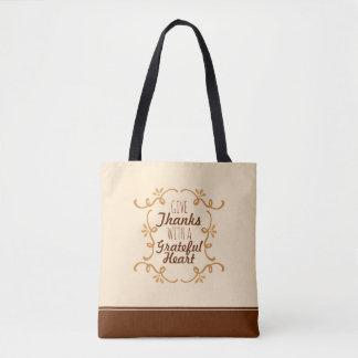 With A Grateful Heart Thanksgiving | Tote Bag