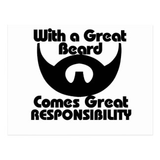 With a great beard comes great resposibility postcard