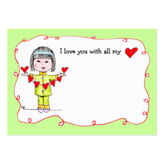 With all my Heart lunch box love note Pack Of Chubby Business Cards