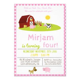 WITH AN OINK, BAA, CLUCK, MOO FARM BIRTHDAY PARTY CARD