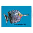 With appreciOCEAN blue cartoon fish thank you card