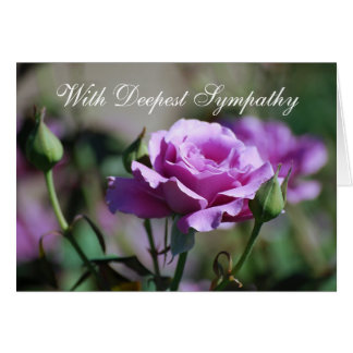 With Deepest Sympathy Blank Lavender Rose Card