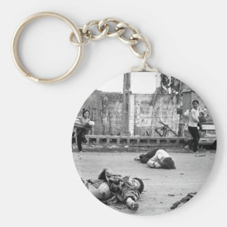 With fear and apprehension showing on their faces_ basic round button key ring