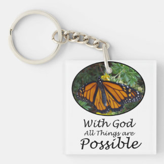 With God All Things Are Possible Monarch Butterfly Double-Sided Square Acrylic Key Ring