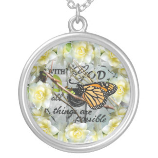 With God All Things are Possible Silver Plated Necklace