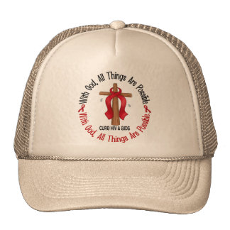 WITH GOD CROSS AIDS / HIV T-Shirts & Gifts Cap