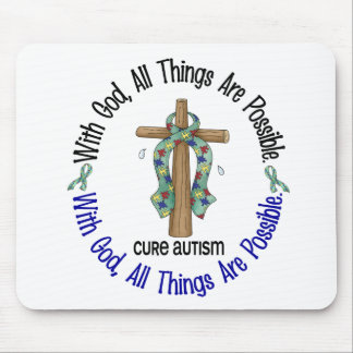WITH GOD CROSS AUTISM T-Shirts & Gifts Mouse Mat