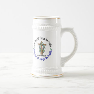 WITH GOD CROSS AUTISM T-Shirts & Gifts Beer Steins