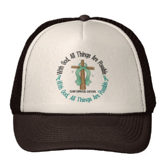 WITH GOD CROSS Cervical Cancer T-Shirts & Gifts Trucker Hat