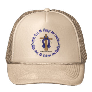 WITH GOD CROSS Colon Cancer T-Shirts & Gifts Trucker Hat