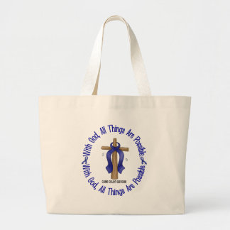WITH GOD CROSS Colon Cancer T-Shirts & Gifts Jumbo Tote Bag
