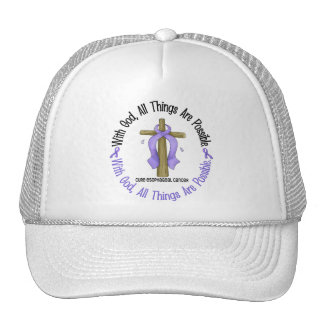 WITH GOD CROSS Esophageal Cancer T-Shirts & Gifts Mesh Hats