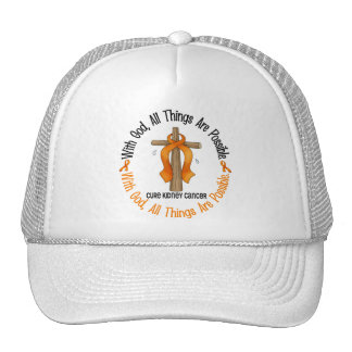 WITH GOD CROSS Kidney Cancer T-Shirts Gifts Mesh Hats