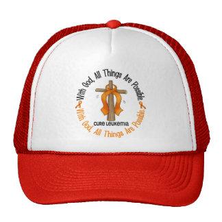 WITH GOD CROSS Leukemia T-Shirts & Gifts Mesh Hats