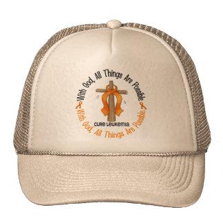WITH GOD CROSS Leukemia T-Shirts & Gifts Mesh Hat