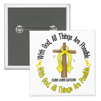 WITH GOD CROSS Liver Cancer T-Shirts & Gifts 15 Cm Square Badge
