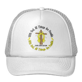 WITH GOD CROSS Liver Cancer T-Shirts Gifts Trucker Hat