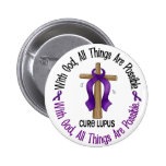 WITH GOD CROSS Lupus T-Shirts & Gifts Pinback Buttons