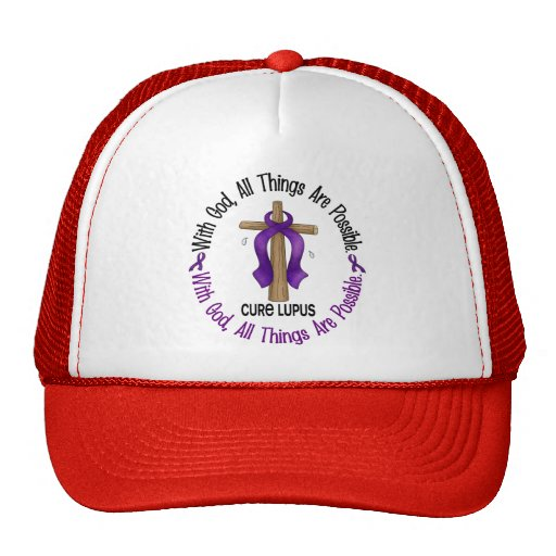 WITH GOD CROSS Lupus T-Shirts & Gifts Mesh Hats