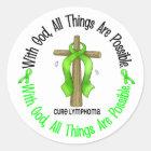 WITH GOD CROSS Non-Hodgkin's Lymphoma T-Shirts Classic Round Sticker