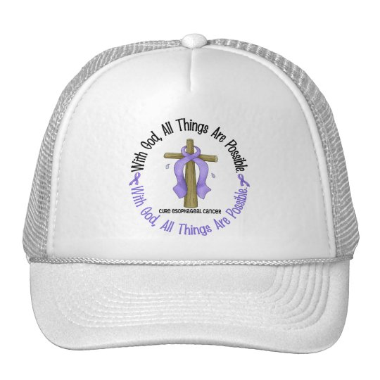 WITH GOD CROSS Oesophageal Cancer T-Shirts & Gifts Cap