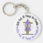 WITH GOD CROSS Oesophageal Cancer T-Shirts & Gifts Keychain