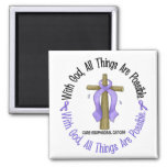 WITH GOD CROSS Oesophageal Cancer T-Shirts & Gifts Fridge Magnet