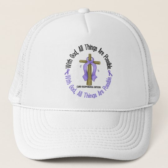 WITH GOD CROSS Oesophageal Cancer T-Shirts & Gifts Trucker Hat