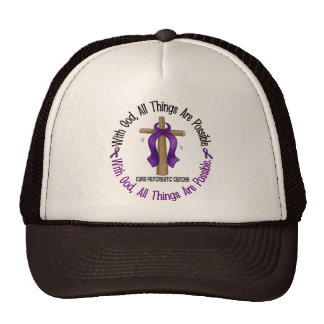 WITH GOD CROSS Pancreatic Cancer T-Shirts & Gifts Hats