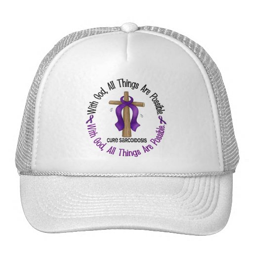 WITH GOD CROSS Sarcoidosis T-Shirts & Gifts Mesh Hats