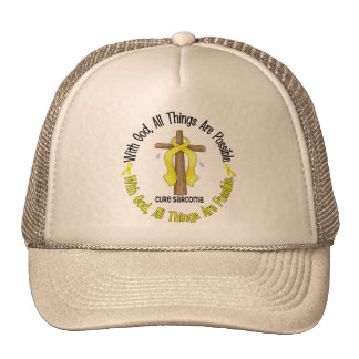 WITH GOD CROSS Sarcoma T-Shirts & Gifts Trucker Hat