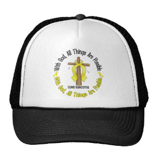 WITH GOD CROSS Sarcoma T-Shirts & Gifts Mesh Hat