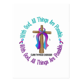 WITH GOD CROSS THYROID DISEASE T-Shirts & Gifts Postcard
