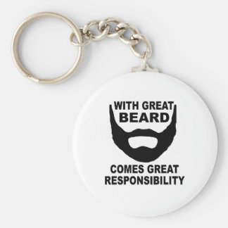 With Great Beard Comes Great Responsibility Key Ring