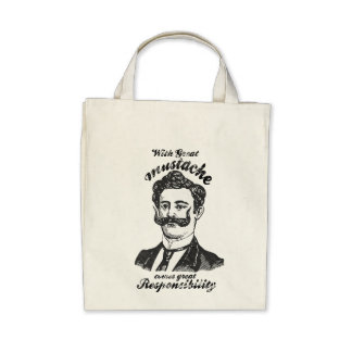 With great mustache, comes great responsibility tote bags