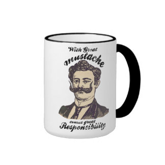 With great mustache, comes great responsibility ringer mug