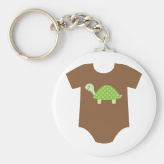 With Green Turtle Basic Round Button Key Ring