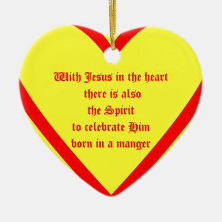With Jesus in the heart there is also the Spiri... Ceramic Heart Decoration