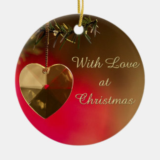 With Love at Christmas Round Ceramic Decoration