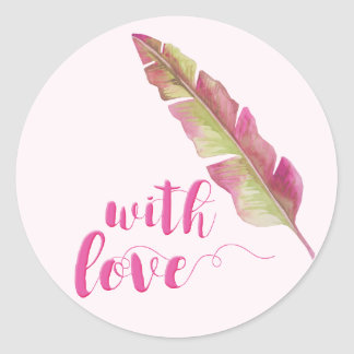 With Love | Bohemian Feather Round Wedding Sticker
