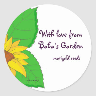 With love from Baba's Garden to Personalize Round Sticker