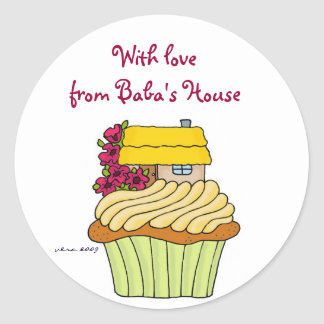 With Love from Baba's House to Personalize Round Sticker
