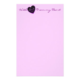 With Love from my heart, purple heart stationery