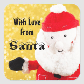 With Love From SANTA Gift Label Red Gold White V5C