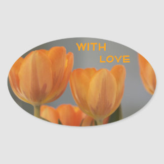 With Love, orange cream Tulips Oval Stickers