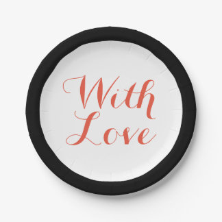 With Love Red, Black And White Wedding Party Paper Plate