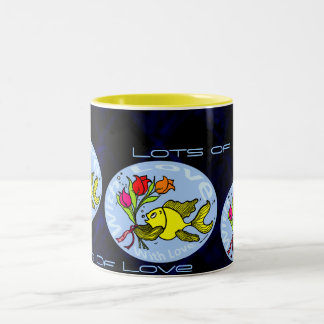 With Love Sparky Fish cute funny comic Gift Two-Tone Mug